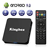 Android 9.0 TV Box [4GB RAM+64GB ROM], Kingbox Android TV Box 4K, USB 3.0, BT 4.1, UHD H.265, HDMI, Smart TV Box Quad Core WiFi Media...