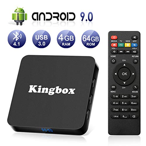 Android 9.0 TV Box [4GB RAM+64GB ROM], Kingbox Android TV Box 4K, USB 3.0, BT 4.1, UHD H.265, HDMI, Smart TV Box Quad Core WiFi Media Player, Box TV Android [2019 Versión Última]