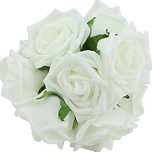 Ruichy PE artificiale schiuma rosa bouquet da sposa Mazzi per decorazione di cerimonia nuziale, confezione da 10 pezzi Bianco
