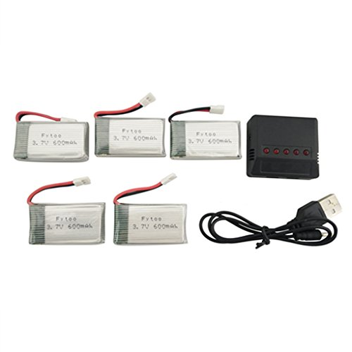 Fytoo 5PCS 3.7V 600mah lipo batería con 5 en 1 Cargador para MJX X708 X708W X709 UDI U45 U45W U42 U42W SYMA X5C X5SW X5SC S5 S5C S5W EACHINE E32HW SS40 FQ36 T32 T5W H42