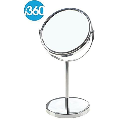 Specchio da bagno rotondo, orientabile e girevole sul suo asse, autoportante, con ingrandimento per truccarsi o rasarsi, colore: cromato