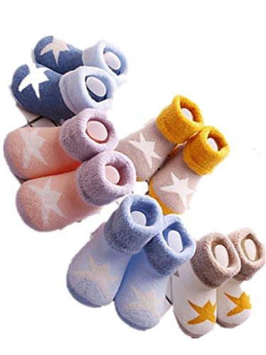 sunnymi 0-3 Jahre alt Baby Socks On Monate Cotton Short Happy Mädchen Jungen Unisex Geschenke Herbst Winter Rosa White Blau (0-1 Jahre alt) (Bettwäsche Vintage Shorts)
