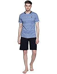 Valentine Night Suit For Men - Dark Blue And Black Printed Night Wear - Stylish Tshirt And Shorts Set For Men...