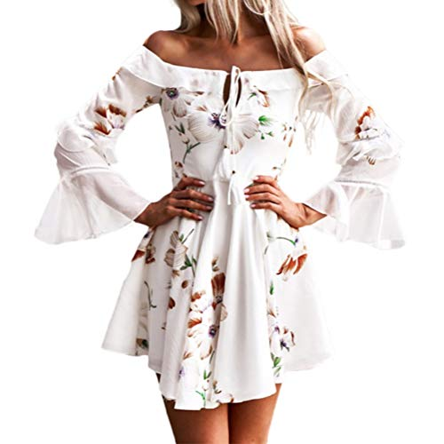 Bluelucon Weihnachten Kleid Damen Partykleider Elegant Abendkleid Weihnachtskleid Frauen Mode Bodycon Sexy Schulterfrei Schlinge Knielang Langarm Rockabilly Mini ()