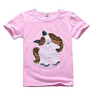 Unicornio Lentejuelas Algodón Camiseta Manga
