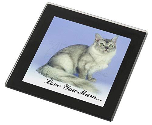 Advanta - Glass Coasters Tiffanie Katzen 'Love You Mum' Glasuntersetzer mit schwarzem Rand Weihnachtsgesc
