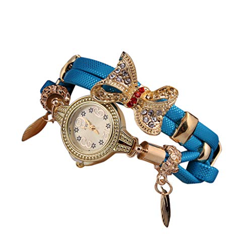 Exquisit Damen Uhren | Luotuo Mode Schmetterling Armbanduhr | Retro Strass Armband Uhren Frauen Schöne Hochzeit Quarzuhren Klein Exquisit Schmuck Ø25mm