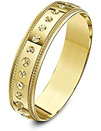 Theia Unisex Heavy Weight Circle Design with Millgrain Edge D Shape 9 ct Gold Wedding Ring