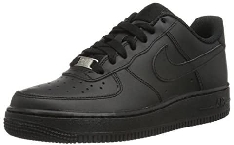 Nike AIR FORCE 1 (GS), Unisex-Kinder Sneakers, Schwarz (009 Black/BLACK-BLACK),