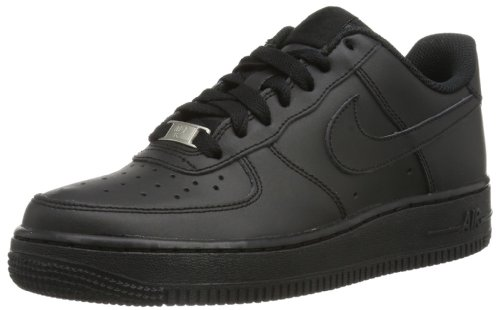Nike Unisex-Kinder AIR FORCE 1 (GS) Low-Top, Schwarz (009 Black), 39 EU