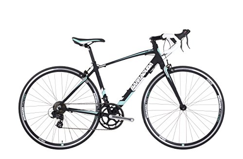 "Barracuda Corvus 2 Womens' Road Bike Black/Green, 21"" inch alloy frame, 16 speed aerodynamic alloy frame allows you to accelerate to high speeds quickly 16-speed Shimano tourney sti shifters"