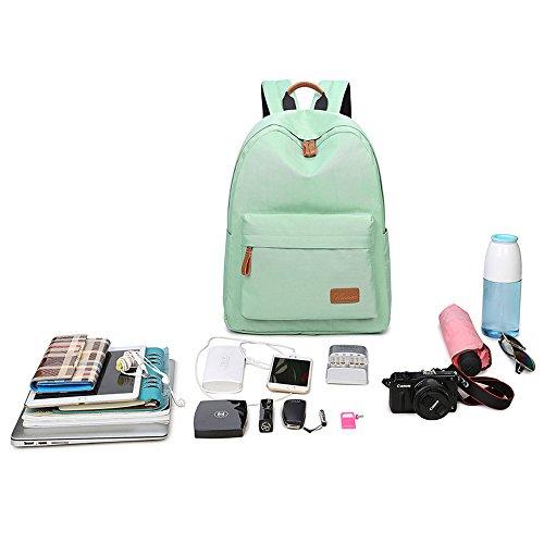 VLike Rücksack Rucksäcke Rucksack Backpack Daypack Schulranzen Schulrucksack Wanderrucksack Schultasche Rucksack für Schülerin Mädchen (Hell Grün) - 8