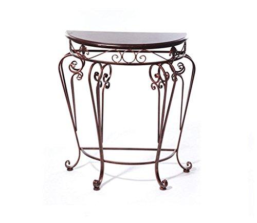 Flower Racks, European Style Iron Klassischer Schreibtisch Semi - Round Table Eingangstisch Tee Beistelltisch Set Flower Racks 60 * 30 * 70cm Amerikanischer Blumenständer (Farbe : Bronze) (Bronze Set Beistelltisch)