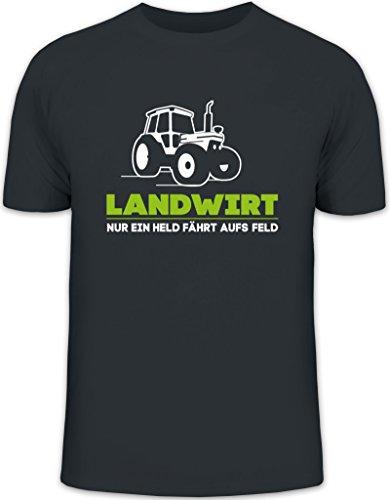 Landwirt Trecker, Traktor Bauer Herren T-Shirt Herrenshirt Funshirt, Größe: L,darkgrey