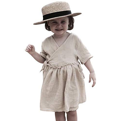 LEXUPE Kleinkind Kinder Baby Mädchen Leinen Rüschen Prinzessin Casual Beach Dress Outfits Kleidung(Beige,80)