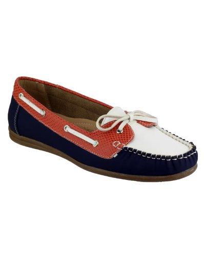 Divaz Belgravia Slip On Femmes Shoe Dames Shoes Chaussure Été Pu Navy/White/Red