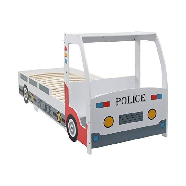 Festnight` Children's Police Car Bed with Desk 90x200 cm Festnight Overall dimensions: 260,5 x 97 x 117 cm (L x W x H) Featuring an appealing police car design and solid construction, this children's bed will be a real eye-catcher in your kid's bedroom. Comfortable, functional, and aesthetically-pleasing, this bed is designed to ensure the utmost comfort and maximum safety for kids. 7