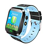 Morehappy7Smart Watch bambini Smartwatch GPS Tracker SOS chiamata anti-perso cercatore dispositivo tracker Kid Safe monitor SIM Card torcia 3,7cm touch screen per Android e iOS, blue