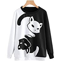 Cute Jumpers For Women Mingfa Autumn Winter Long Sleeve Cat Printing Sweatshirt Pullover Tops Blouse