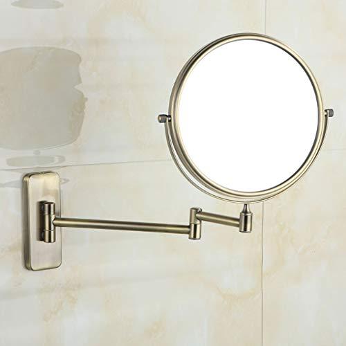 AZHom Badezimmer-Eitelkeitsspiegelkupfer kreativer teleskopischer faltender Schönheitsspiegel Hotelbadewand hängende doppelseitige Lupe Kreatives einziehbares Falten mit Vergrößerung Spiegel