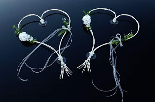Auto-schmuck ROMANTISCHE Herzen Autoschmuck Braut Paar Rose Deko Dekoration Hochzeit Car Auto Wedding Deko (Weiß 6)