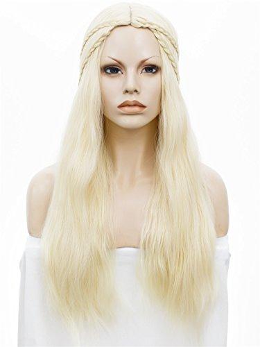 Daenerys Perücke (imstyle Kunsthaar® Frauen lange natürliche Kunsthaar Perücke cosplay Maschine Made Perücken mit Zöpfe creme Full Perücke mit)
