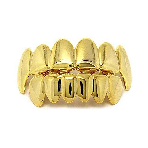 Kobwa Grillz, vergoldet, Set für oberen und unteren Mund, Hip Hop, für Zähne Perfekt für Fotoshootings, Musikvideos und den Alltag Gold1
