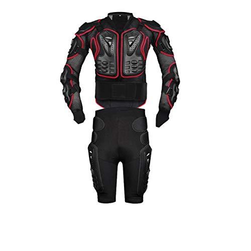 Ger-Gisntips Motocross Racing Motorrad Körperschutz Motorradjacke + Shorts Hosen + Schutzausrüstung Knieschützer + Handschuhe Red A2S Set XXXXL -