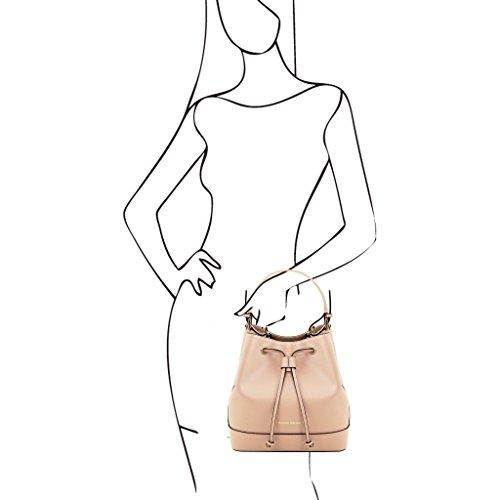 Tuscany Leather Minerva Borsa secchiello da donna in pelle Saffiano Cognac Nude