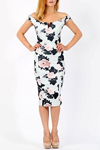 Mesdames Floral V -Cut Bardot Midi Robe EUR taille 36-44 Gris