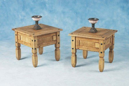 PAIR OF CORONA MEXICAN DISTRESSED WAXED PINE LAMP / SIDE TABLES