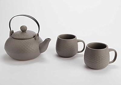 Coffret théière avec 2 tasses taupe foncé Amadeus, theiere avec filtre , theiere infusion , theiere avec tasse