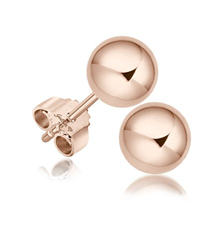 Juwelier Gelber Kugel Ohrstecker Rosé Gold 585 14 Karat ca. 5,5mm Groß