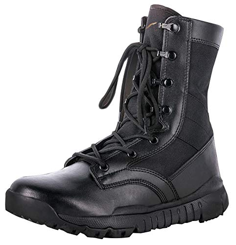 MYXUAA Army Tactical indossabile Super leggero Stivali neri e sabbia Scarpe da combattimento militari con lacci Solid Walking Walking Trekking Training Casual-black-EU43/US10/UK9