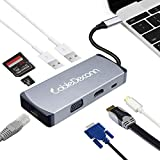 CableDeconn USB C HDMI 4K VGA Adapter Thunderbolt 3 Type-c Multiport Dock Hub with Gigabit Ethernet RJ45,2xUSB 3.0, SD/TF Card Reader PD Charge Compatible with MacBook PRO 2017 (Gray)