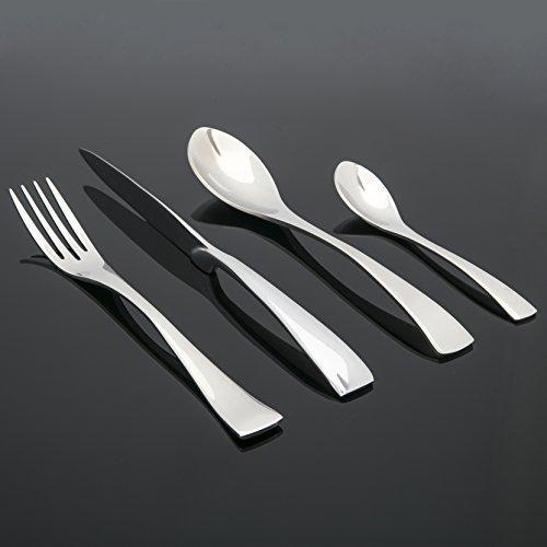 Jenssen 24 piece 6-Person Stainless Steel (18/10) Modern Designer Cutlery Set in Gift Box (24 piece set)