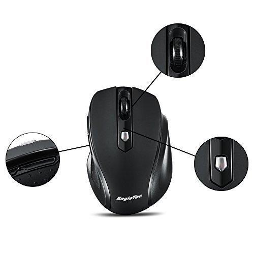 EagleTec MR5M2509 2.4GHz Schnurlose optische 5 Tasten Maus, anpassbare Auflösung 1000/ 1500/ 2000 DPI, mit Nano USB Empfänger (Schwarz)