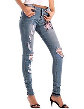 LuckyGirls Pantalones Mujer Vaqueros Rotos Cintura Alta Originals Bordado de Floral Casual Pantalón Moda Slim...
