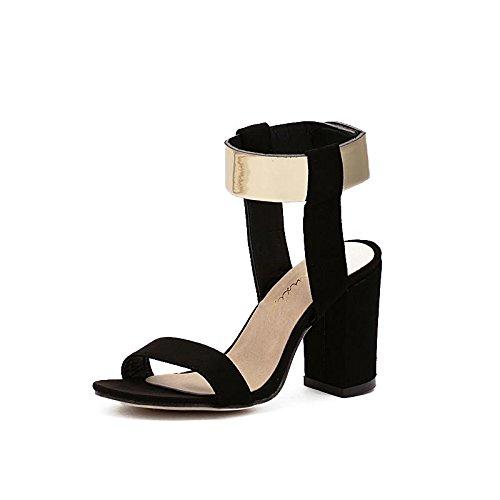 LvYuan-mxx Femmes sandales romaines / Printemps été automne / Décontracté / Simple suède / Cool bottes / sangle de cheville métallique / Talons hauts ouvert orteil / Bureau & Carrière Robe / Talons ha 38-BLACK