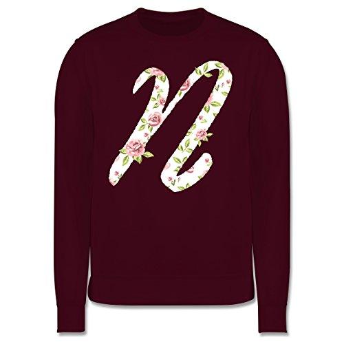 Anfangsbuchstaben - N Rosen - Herren Premium Pullover Burgundrot