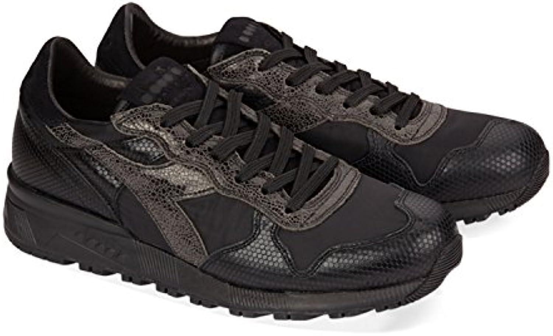 Diadora Heritage Herren Sneaker Made in Italy   Trindent 90 ITA Black Pack Aus Strukturiertem Leder IM Materialmix