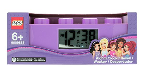 Despertador infantil por piezas púrpura de LEGO Friends; púrpura; plástico; 7 cm de altura; Pantalla LCD; chico chica; oficial