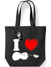 Fairtrade Stoffbeutel Musikinstrument Geige Violine Fiedel Baumwolltasche, Umhängetasche