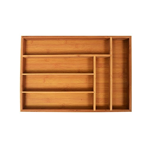 Frideko Vintage Bamboo 6 Compartment Cutlery Organiser Tray for Knives Forks Spoons Chopsticks