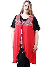 Vêtement Femme Grande Taille Gilet long rouge