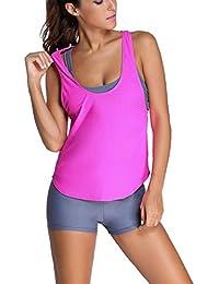 49c568fceb881 Asvivid Women's Summer 2pcs Striped Ombre Print Racerback Tankini Swimsuit  with Shorts Swimsuit Sets Swimwear Set
