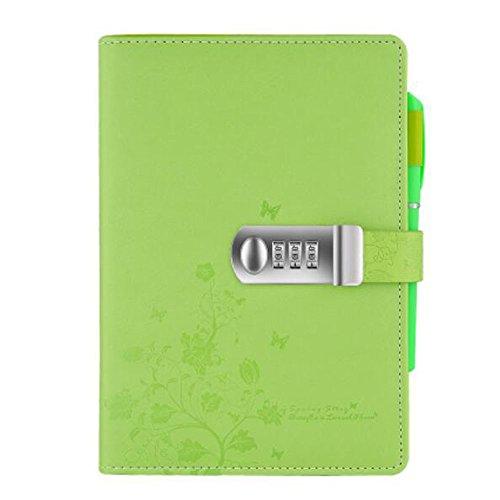 Tagebuch Notizbuch Notebook PU Lederbuch Skizzenbuch Journal ,Notebook Sketchbook Memo Tagebuch Mit Schloss Code TPN099 (5.71x8.27 inch) Grün (Mädchen Mit Schloss Tagebuch)