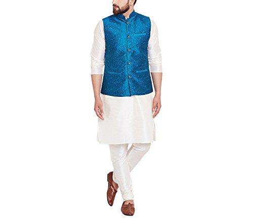 Royal Sojanya Men's Jacquard Silk Nehru Jacket Large Sea Green (Royal Jackets Green)