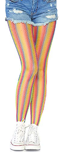 Leg Avenue Damen Netz Strumpfhose Regenbogen bunt gestreift Einheitsgröße ca. 36 bis 40 (Avenue Leg Netz-höschen)
