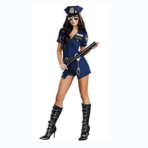 Fashion-Cos1 Kurzarm Mit Hut Weibliche Polizei Anzug Legen Sie Ihre Hände Nach Oben Cop Kostüm Erwachsene Sexy Polizei Frauen Kostüme Sheriff Uniformen (Halloween-kostüme Weibliche Cop)